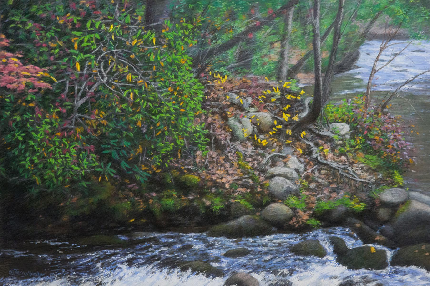"""River's Edge""  24"" X 36"" pastel on panel"