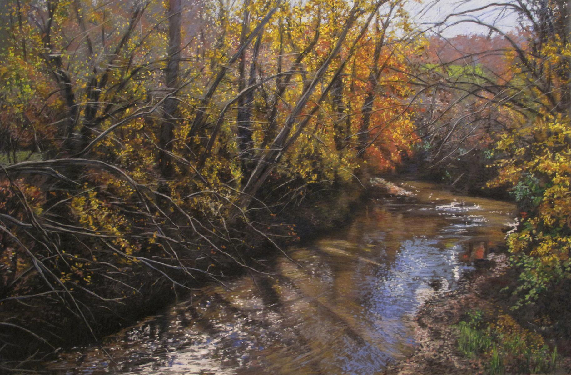 """Sunlight on a Woodland Stream""    24"" X 36""   pastel on panel"
