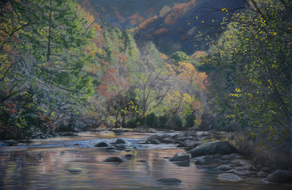 """The Green River""  24"" X 36""    pastel on panel"